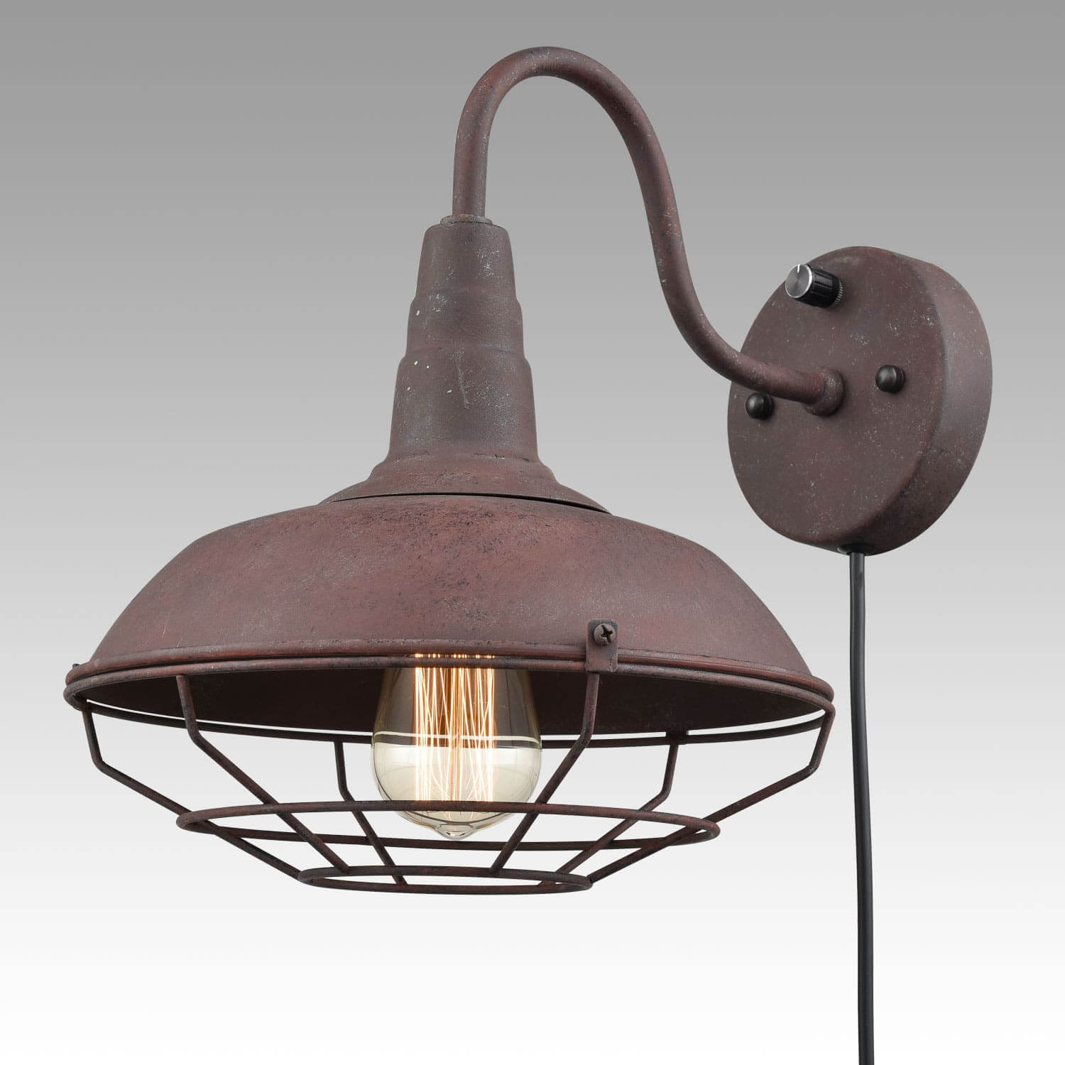 Rustic Metal Plug in Wall Lights with Barn Cage Shade