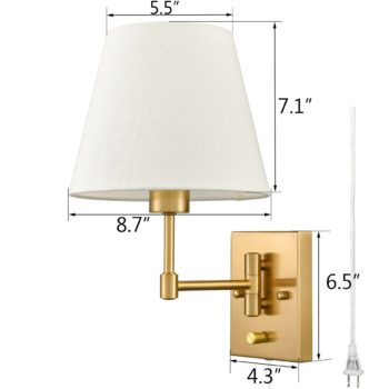 Plug-in Wall Sconces Set Of Two Beige Shade Swing Arm Wall Lamp