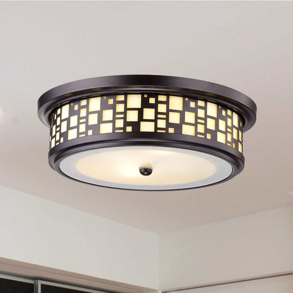 Drum Shade Resin Flush-Mount Ceiling Lights with Frosted Glass