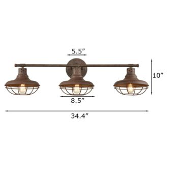 Rustic Metal Barn Cage Wall Sconce 3 Light Bathroom Fixture