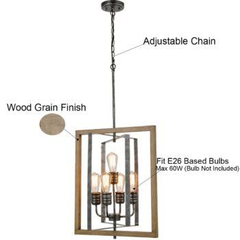 Rustic 5-Light Kitchen Island Chandelier in Wood Grain Finish