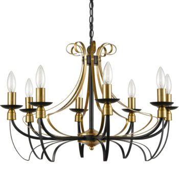 Rustic Candle Dining Room Chandeliers Black & Brass, 8-Light