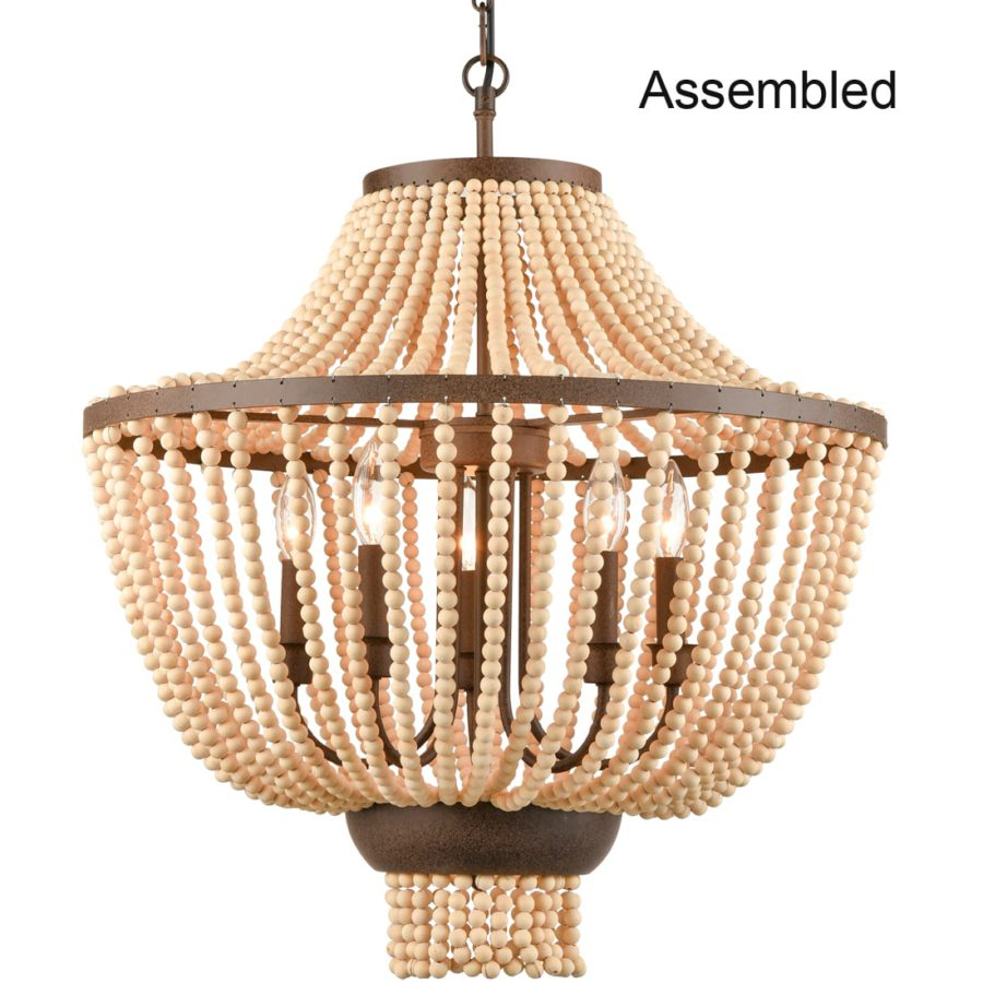 Rustic Wood Beaded Chandelier Candle Style Empire Shape - 5 Light