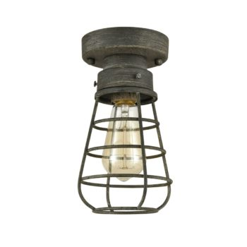 Rustic Mini Caged Ceiling Lights Flush Mount with Solid Metal