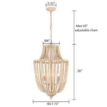 Farmhouse Wood Bead Chandelier Metal Demi Lantern Fixture
