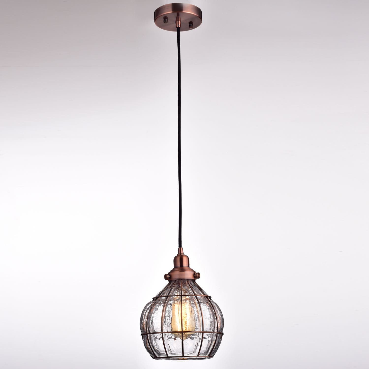 Rustic Cracked Glass Globe Pendant Lights, Red Copper Finish