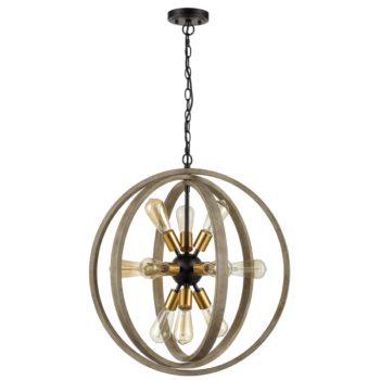 Rustic Dining Room Wood Chandelier Orb Sputnik Lights, 12-Light