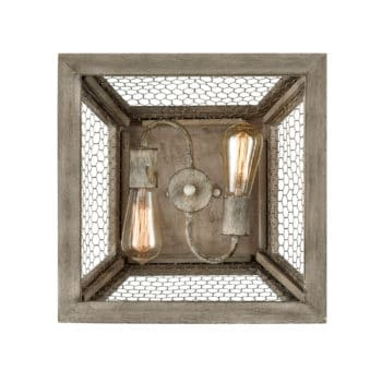 Rustic Flush Mount Ceiling Light Distressed Grey Wood Fixture