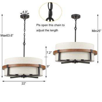 Rustic Drum Chandelier 4-Light Dining Room Chandelier