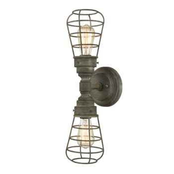 Rustic Double Light Wire Caged Wall Lights with Solid Metal