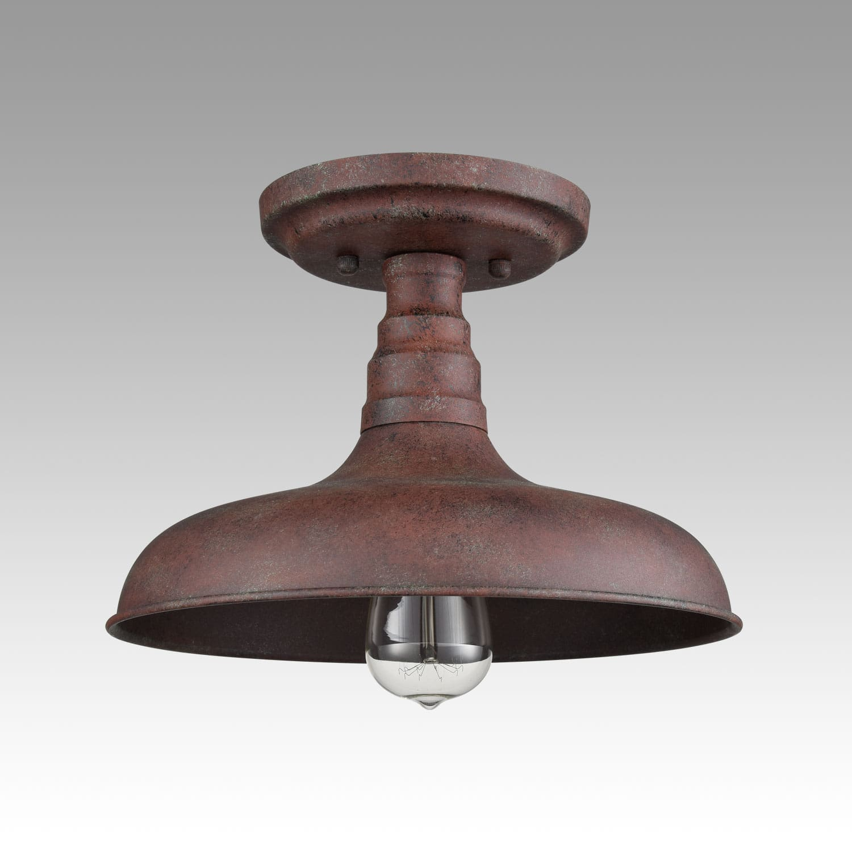 Rustic Semi Flush Ceiling Light Metal Barn Shade Fixture