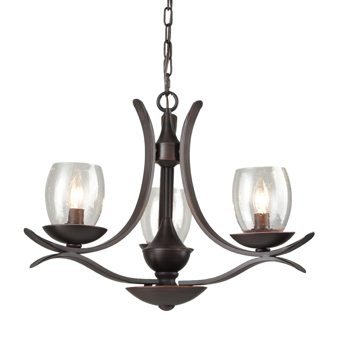 Rustic Bronze Dining Room Chandelier with Seeded Glass - 3 Light