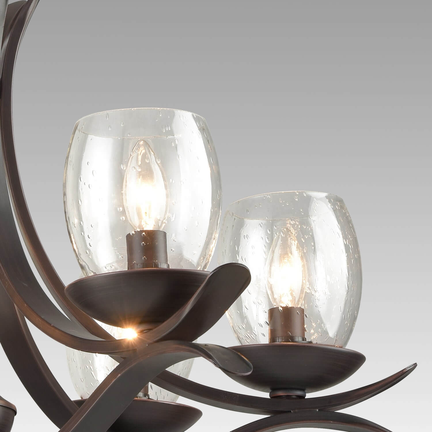 Rustic Bronze Dining Room Chandelier with Seeded Glass - 6 Light
