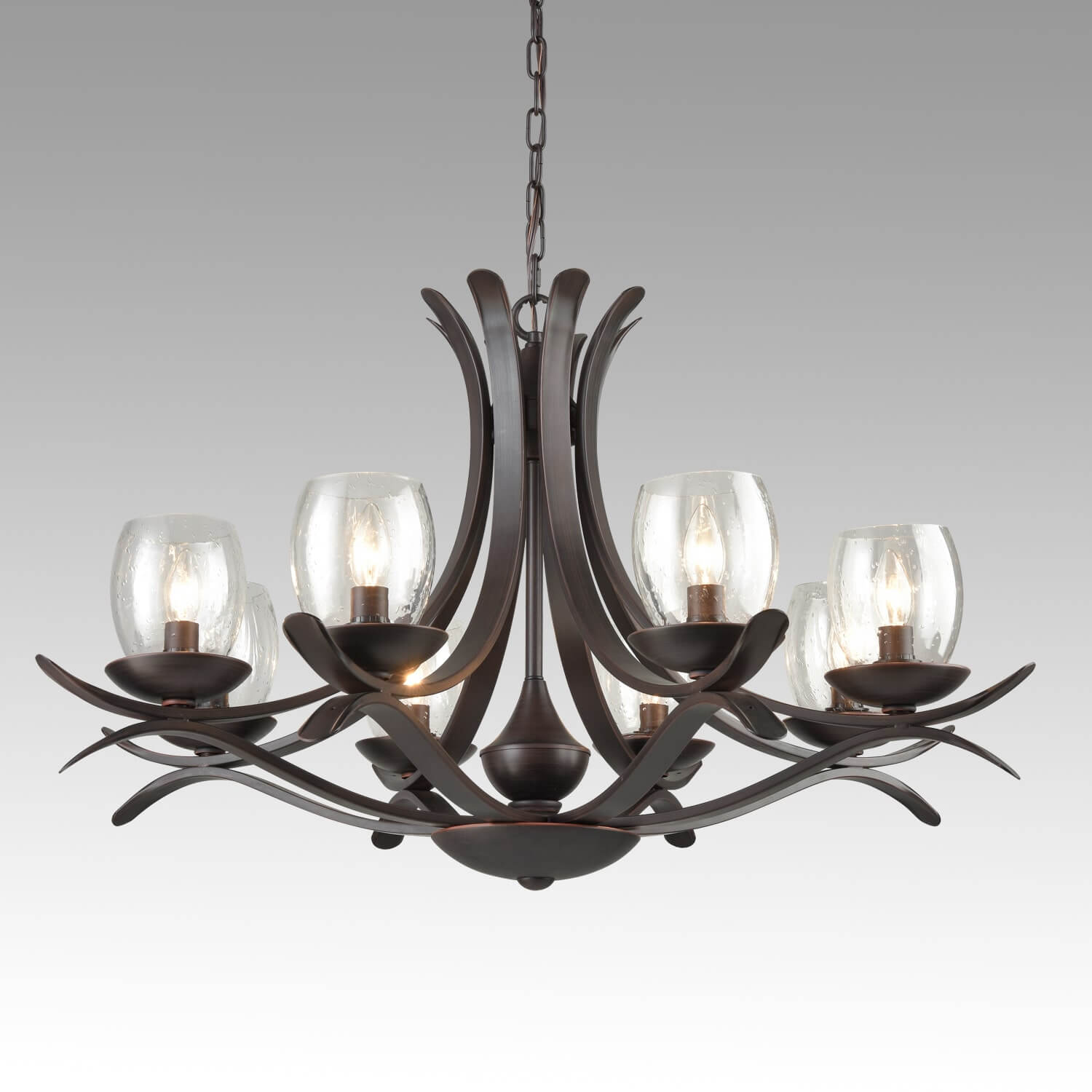 Rustic Bronze Dining Room Chandelier with Seeded Glass - 8 Light