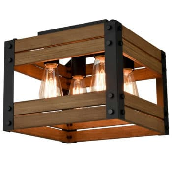Rustic Kitchen Wood Flush Mount Ceiling Light, 12-In