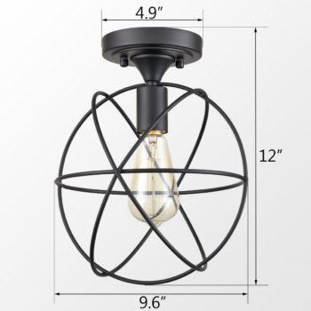 Rustic LED Flush Mount Ceiling Light Metal Cage Sphere Lamp