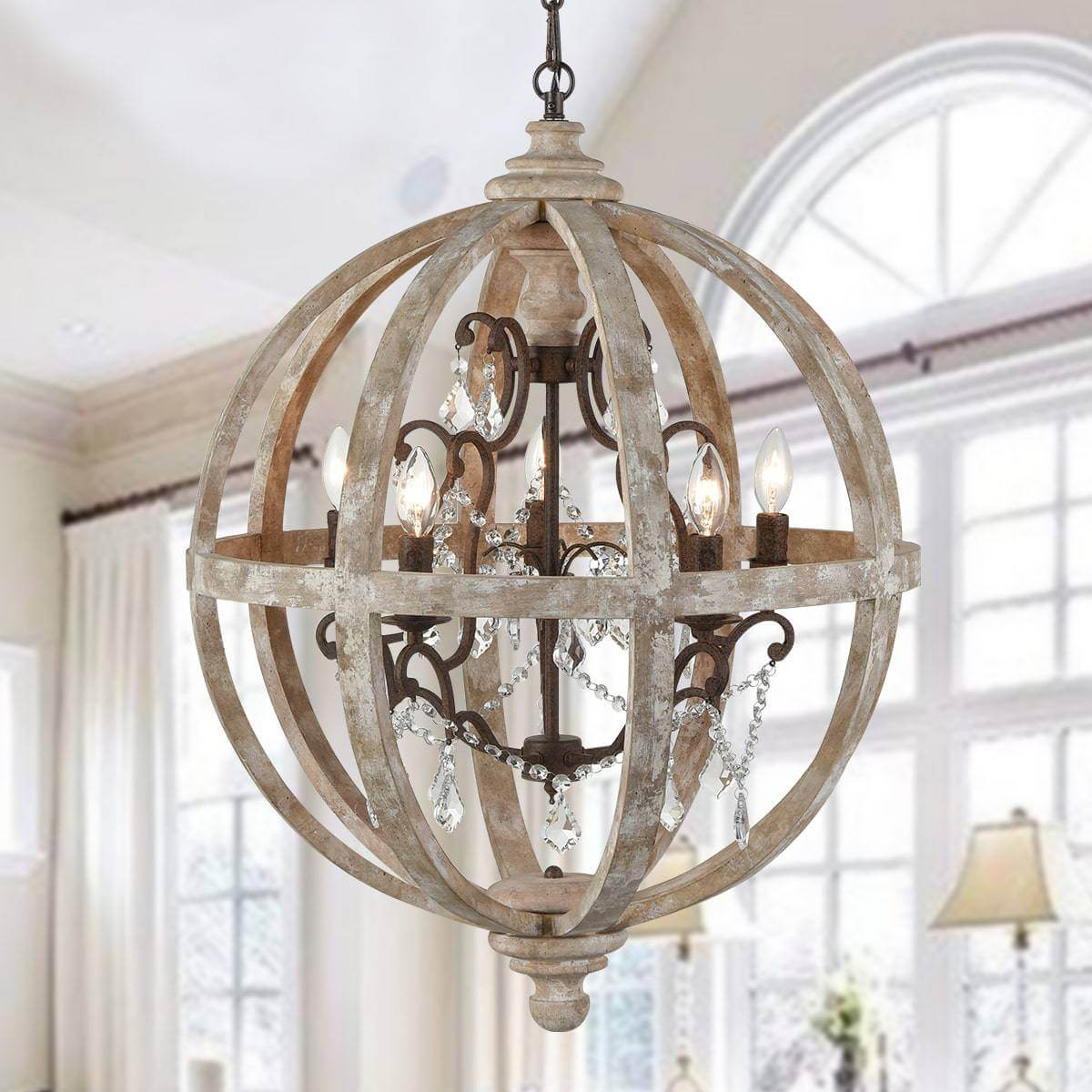 Farmhouse Weathered Wooden Globe Pendant Chandelier-Medium