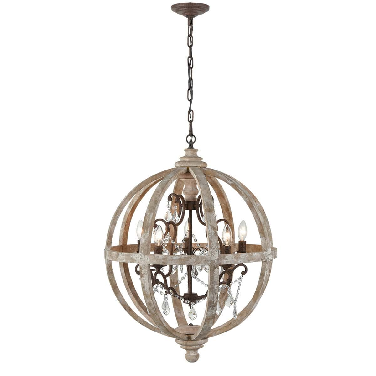 Farmhouse Weathered Wooden Globe Pendant Chandelier-Medium