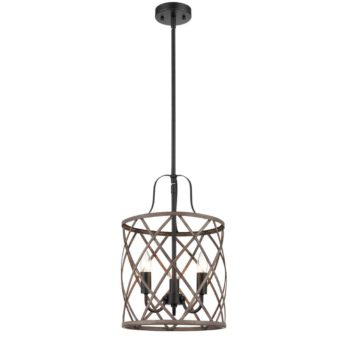 Rustic Metal Drum Pendant Chandelier Light Wood Finish 3-Light