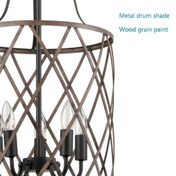 Rustic Metal Drum Pendant Chandelier Light Wood Finish 5-Light
