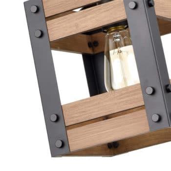 Rustic Rod-Hung Cage Wood kitchen Pendant Lighting, Black
