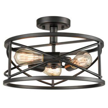 Rustic Semi Flush Ceiling Lights Black Drum Shade, 3-Light