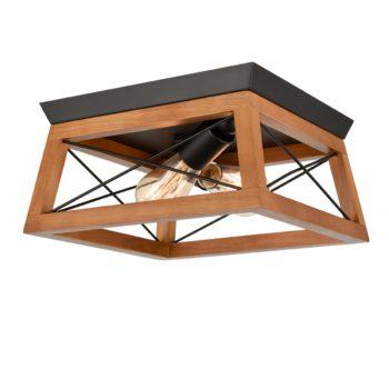Wood Square Cage Flush Mount Ceiling Lights, Oak