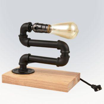 Industrial Black Metal Water Pipe Table Lamp Bedroom Bedside Light