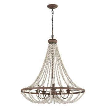 Rustic Wood Beaded Chandelier Candle Style Dining Room Fixture