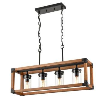 Rustic Wood Linear Chandelier 4 Lights Kitchen Island Lighting