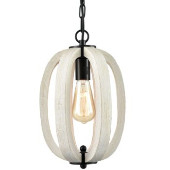 Rustic Wood Pendant Light Distressing Off with Adjustable Chain