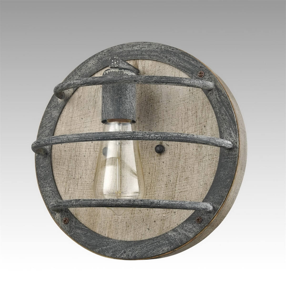Round Rustic Wood Wall Sconce in Stained Slate Finish