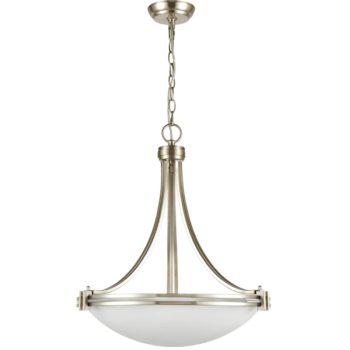 Sand Nickel Plating Pendant Light 3-Light Elegant White Glass