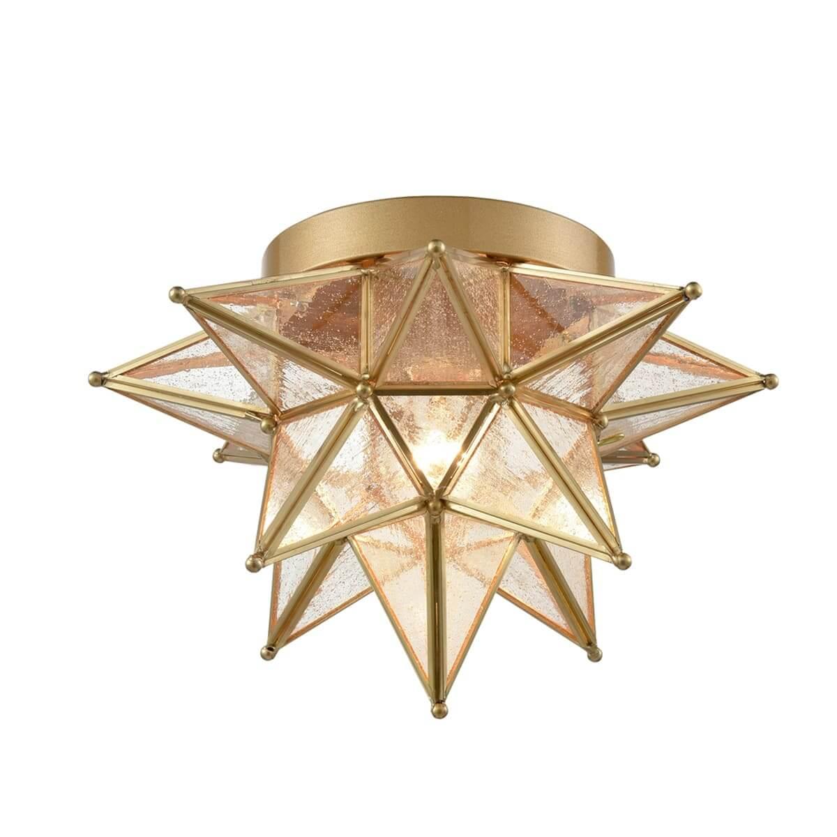 Seeded Glass Brass Moravian Star Flush Mount Ceiling Light