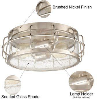 Seeded Glass Ceiling Light 2-Light Brushed Nickel Finished