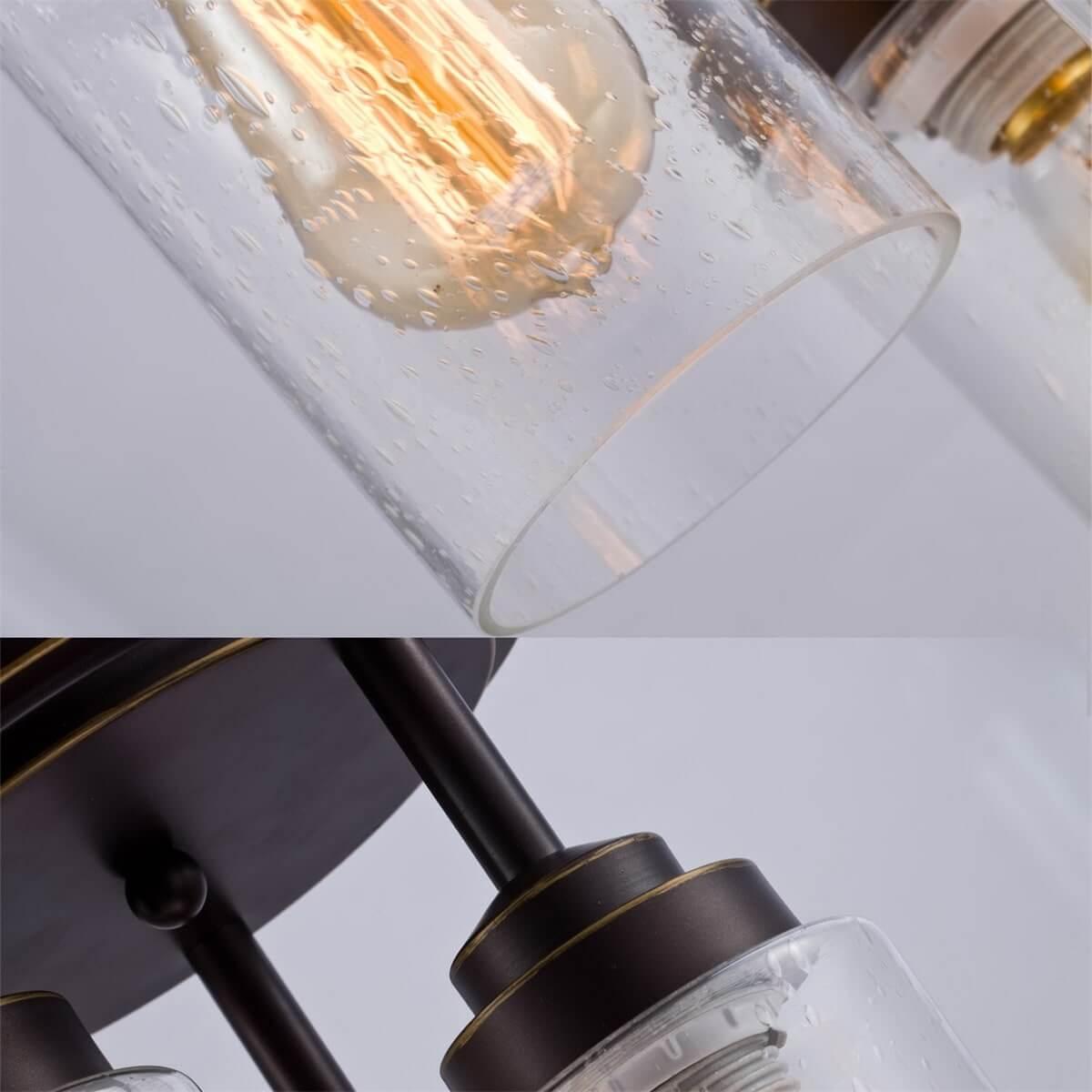 Cylinder 3-Light Flush Mount Ceiling Lights, Seeded Glass