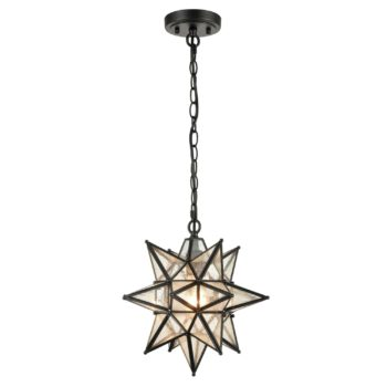 Moravian Star Pendant Chandelier Seeded Glass Black Light 13 Inches