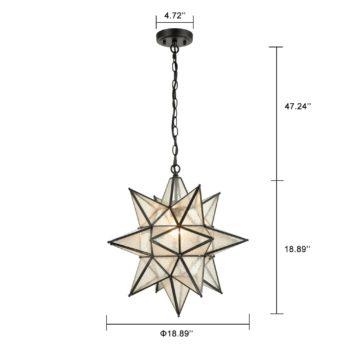 Moravian Star Pendant Chandelier Seeded Glass Black Light 19 Inches