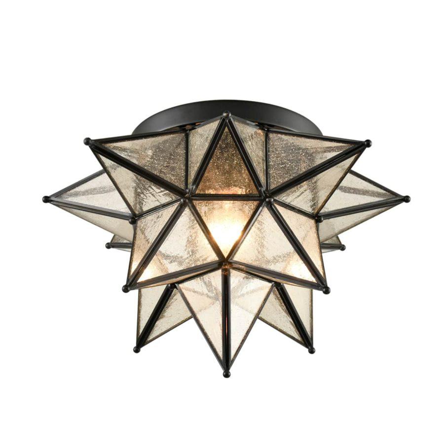 Seeded Glass Moravian Star Flush Mount Ceiling Light, 15-Inch, Black