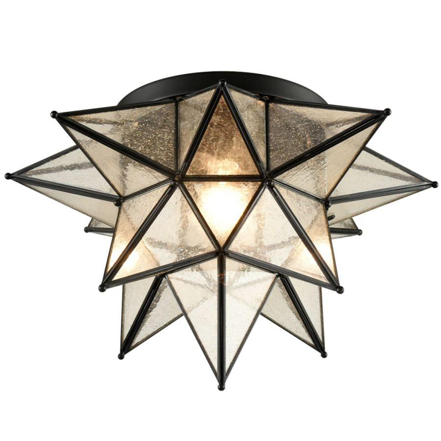 Seeded Glass Moravian Star Flush Mount Ceiling Light, 18-Inch, Black