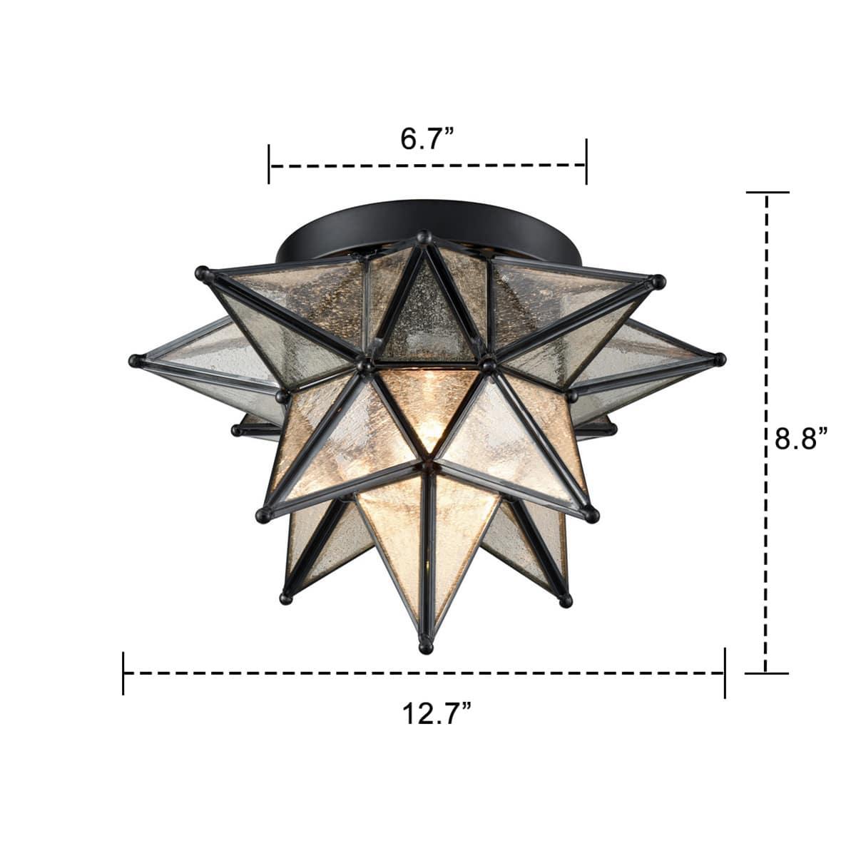 Seeded Glass Moravian Star Flush Mount Ceiling Light