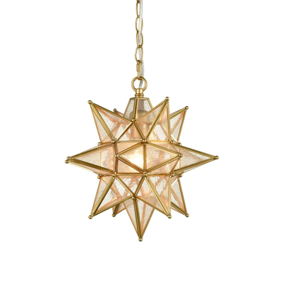 Moravian Star Pendant Chandelier Seeded Glass Gold Light 13 Inches