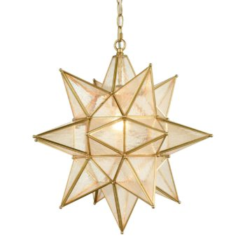 Moravian Star Pendant Chandelier Seeded Glass Gold Light 19 Inches