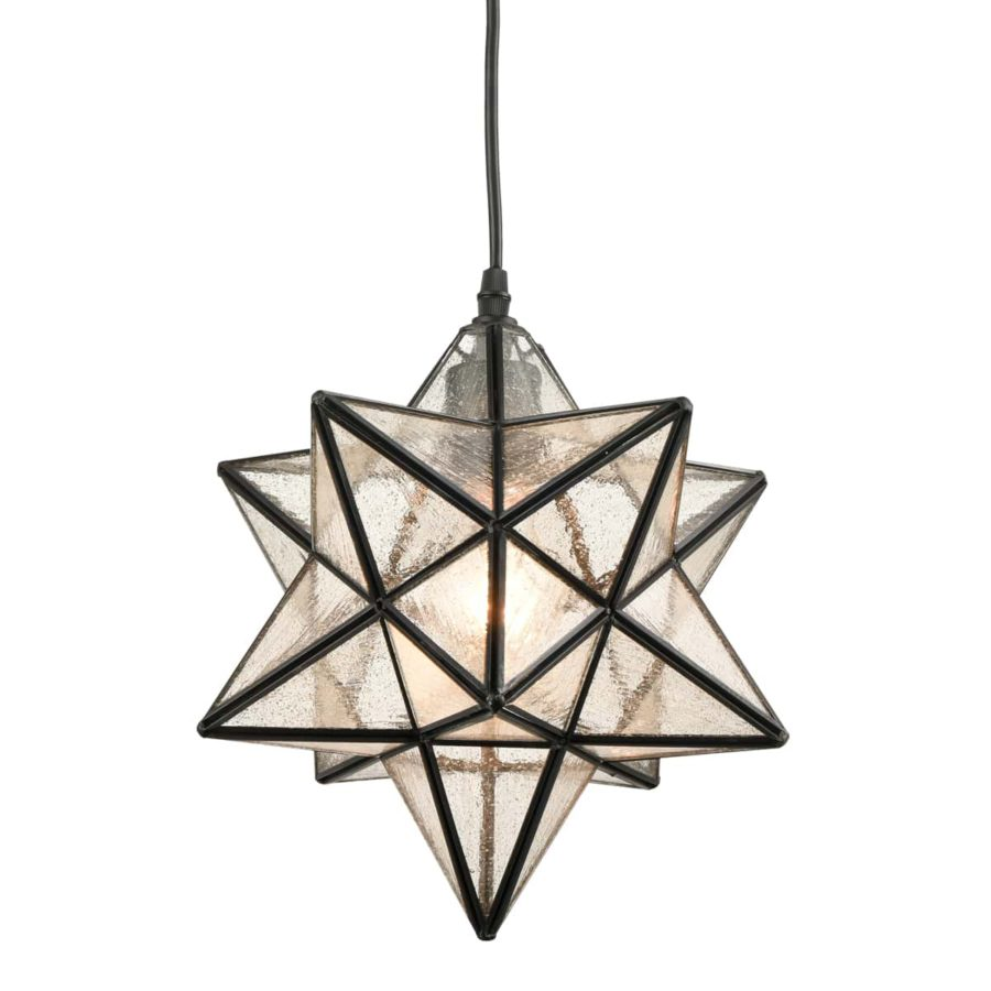 Moravian Star Pendant Light Seeded Glass Shade 12 Inches