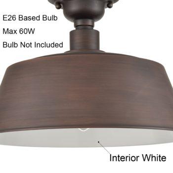 Semi Flush Mount Ceiling Light ORB Metal Barn Shade Light Fixture