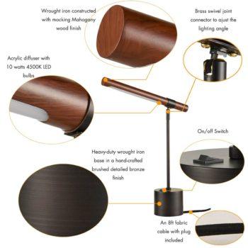Vintage Single Arm LED Desk Lamp, Oil Rubbed Bronze