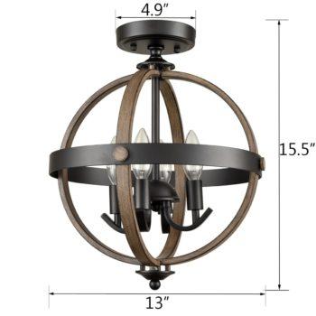Sphere Ceiling Light 4-Light Farmhouse Flush Lighting Fixtures