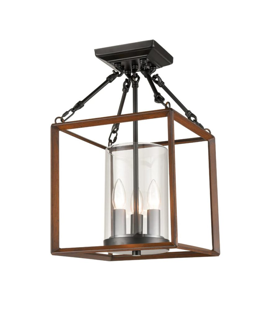 Lantern Cage Ceiling Light with Cylinder Shade-3 Light