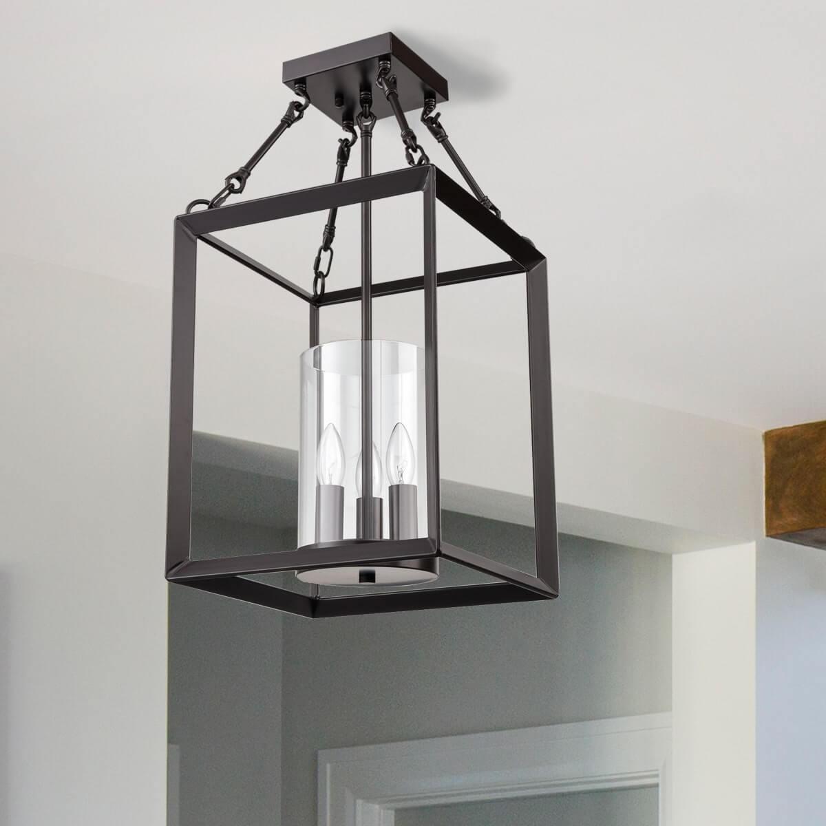 Vintage Square Cage Semi Flush Ceiling Lights Chandelier