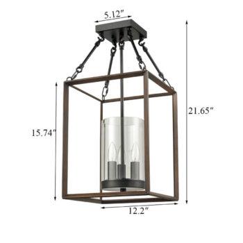 Lantern Flush Mount Ceiling Light Metal Cage Wood Grain Foyer Light